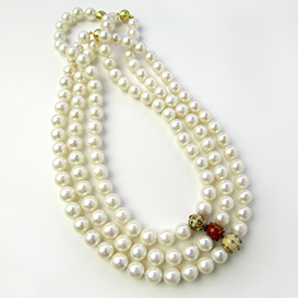 Pearl Strands with Hedgehog Glass Beads